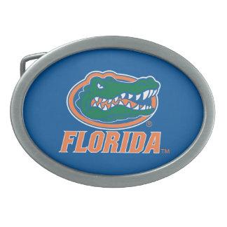 Cabeza del cocodrilo de la Florida - naranja y bla Hebillas De Cinturon Ovales