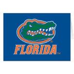 Cabeza del cocodrilo de la Florida - naranja y bla Felicitacion