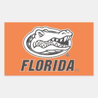 Cabeza del cocodrilo de la Florida - negro y blanc Etiqueta
