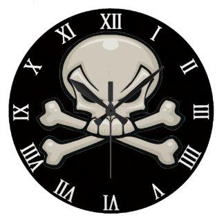 cabeza del cráneo con bandera pirata reloj redondo grande