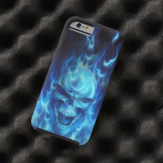 cabeza del cráneo de las llamas azules funda de iPhone 6 tough