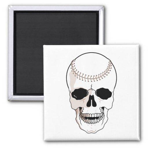 cabeza del cráneo del béisbol imanes para frigoríficos