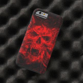 cabeza del cráneo del fuego rojo funda de iPhone 6 tough