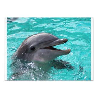 """Cabeza del delfín en agua del aquamarine invitación 5"""" x 7"""""""