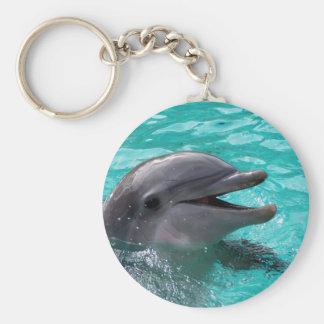 Cabeza del delfín en agua del aquamarine llavero redondo tipo pin