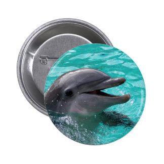 Cabeza del delfín en agua del aquamarine pin redondo de 2 pulgadas