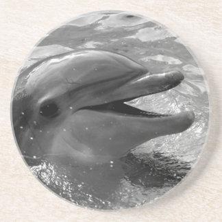Cabeza del delfín en blanco y negro abierto de la posavasos para bebidas