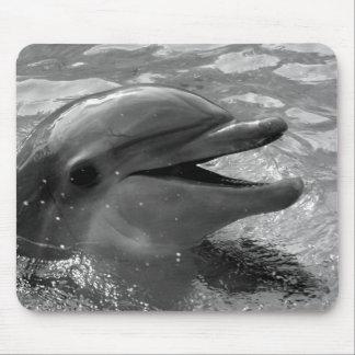 Cabeza del delfín en blanco y negro abierto de la  tapetes de ratón
