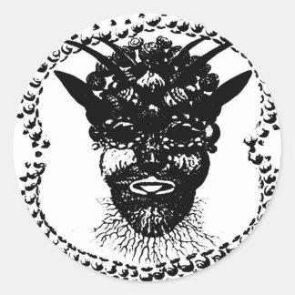 Cabeza del demonio pegatina redonda