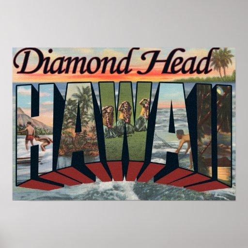 Cabeza del diamante, Hawaii - escenas grandes de l Póster
