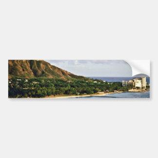 Cabeza del diamante - playa de Waikiki, Oahu Pegatina De Parachoque