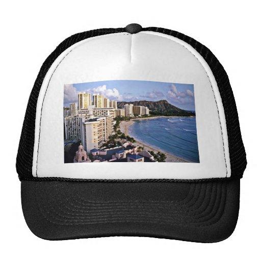 Cabeza del diamante - playa de Waikiki, Oahu Gorros Bordados
