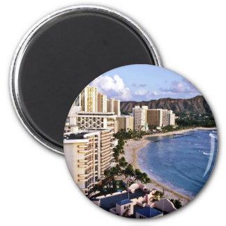Cabeza del diamante - playa de Waikiki, Oahu Imán Redondo 5 Cm