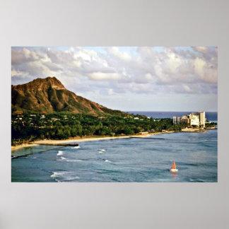 Cabeza del diamante - playa de Waikiki Oahu Poster