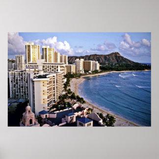 Cabeza del diamante - playa de Waikiki Oahu Posters