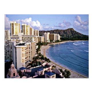 Cabeza del diamante - playa de Waikiki, Oahu Tarjeta Postal