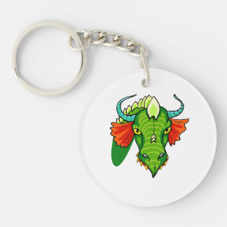 Cabeza del dragón con horns.png llavero redondo acrílico a doble cara