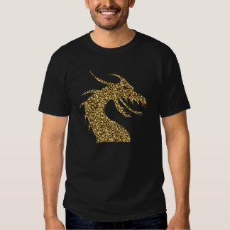 Cabeza del dragón del brillo del oro playera