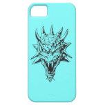 Cabeza del dragón en azul iPhone 5 carcasas