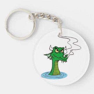 cabeza del dragón fuera del agua horned.png llavero redondo acrílico a doble cara