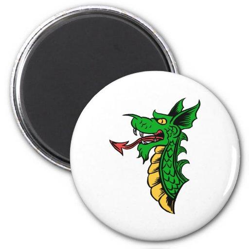 Cabeza del dragón imán redondo 5 cm