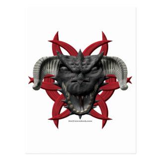 Cabeza del dragón - negro tarjetas postales