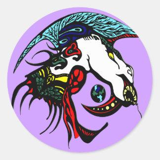 Cabeza del dragón etiquetas redondas