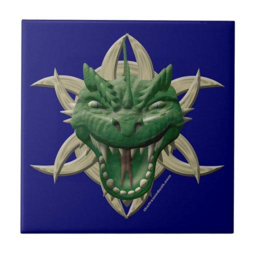 Cabeza del dragón - verde azulejo cerámica