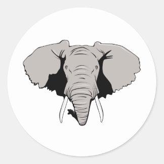 Cabeza del elefante pegatina redonda