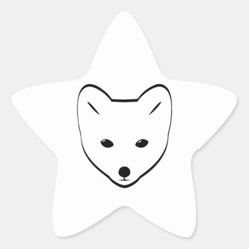 Cabeza del Fox ártico Pegatina En Forma De Estrella