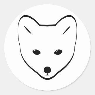 Cabeza del Fox ártico Pegatina Redonda