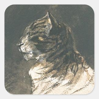 Cabeza del gato de Eugene Delacroix Pegatina Cuadrada