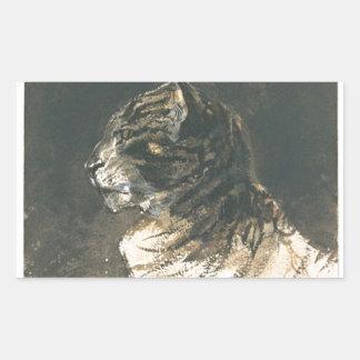 Cabeza del gato de Eugene Delacroix Pegatina Rectangular