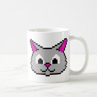 Cabeza del gato del pixel tazas