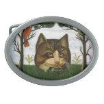 Cabeza del gato del vintage (gato de Cheshire) Hebillas Cinturon Ovales
