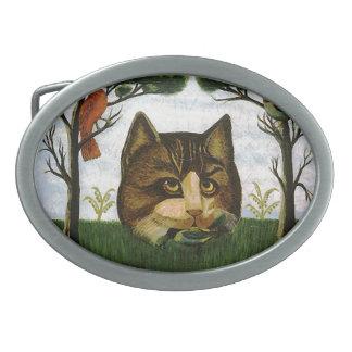 Cabeza del gato del vintage gato de Cheshire Hebillas Cinturon Ovales