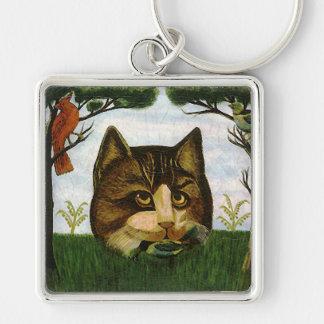 Cabeza del gato del vintage (gato de Cheshire) Llavero Cuadrado Plateado
