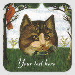 Cabeza del gato del vintage (gato de Cheshire) Calcomanías Cuadradass Personalizadas