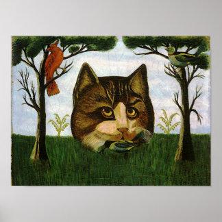 Cabeza del gato del vintage (gato de Cheshire) Póster