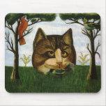 Cabeza del gato del vintage (gato de Cheshire) Tapete De Ratón