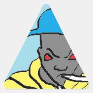 Cabeza del hip-hop pegatina triangular