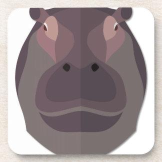 Cabeza del hipopótamo del dibujo animado posavaso