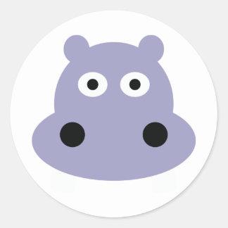 cabeza del hipopótamo pegatina redonda