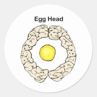 Cabeza del huevo pegatina redonda