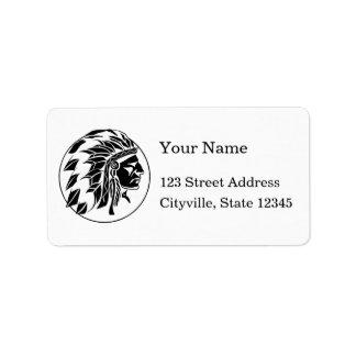 Cabeza del jefe indio etiquetas de dirección