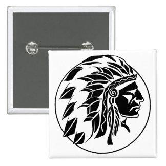 Cabeza del jefe indio pin cuadrada 5 cm