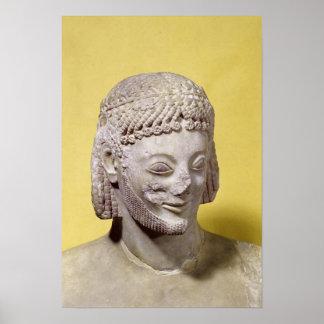Cabeza del jinete de Rampin, c.550-540 A.C. Póster