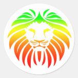 Cabeza del león de Rasta Etiqueta Redonda