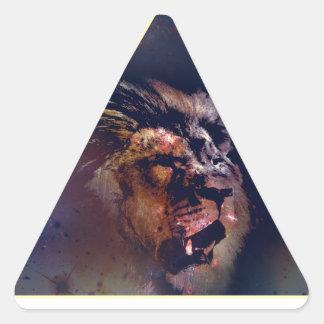 Cabeza del león del triángulo de la galaxia - pegatina triangular