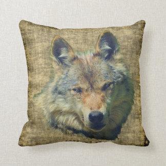 Cabeza del lobo gris, almohada de tiro de la fauna